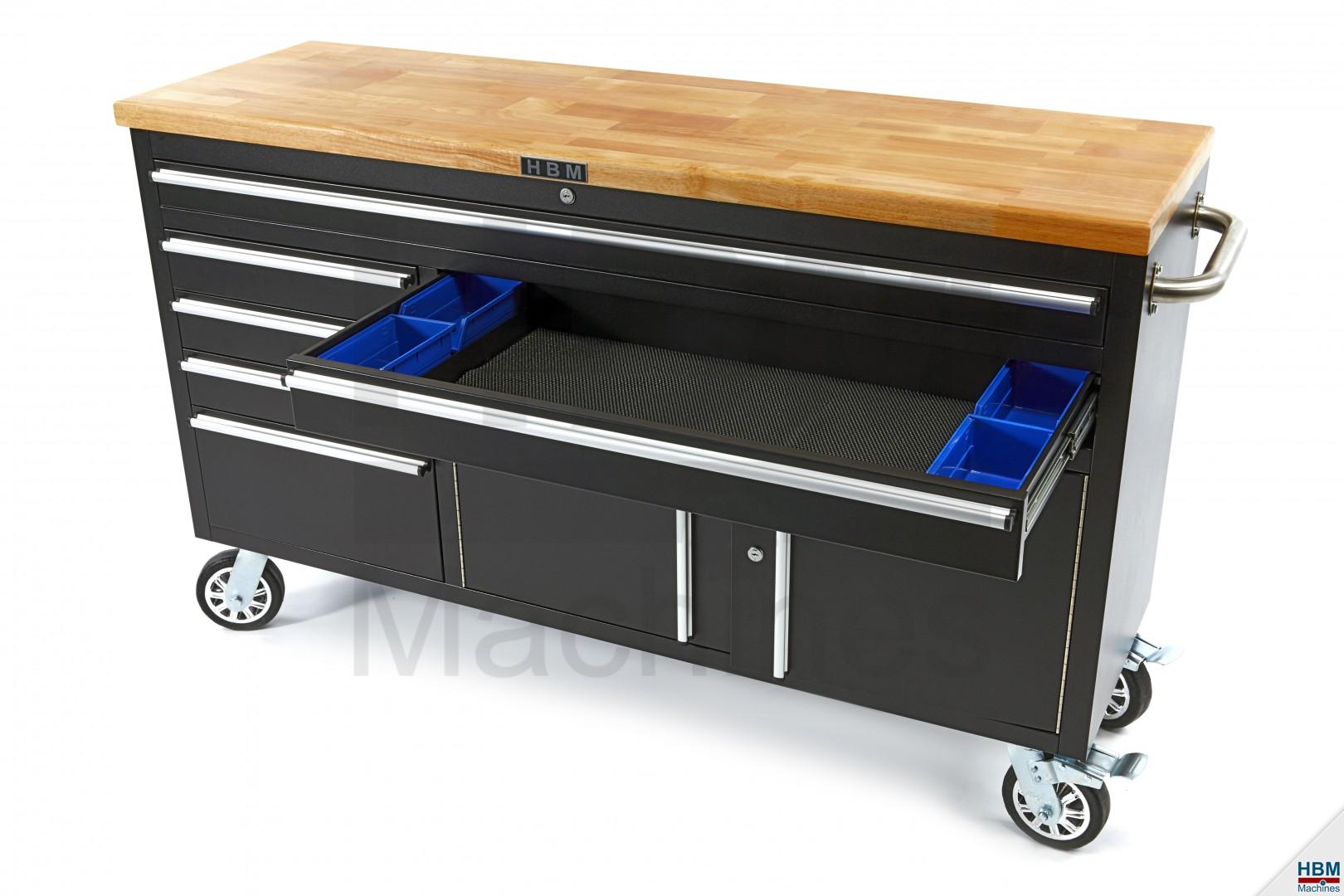 hbm 152 cm professionele gereedschapswagen werkbank met houten blad zwart. Black Bedroom Furniture Sets. Home Design Ideas