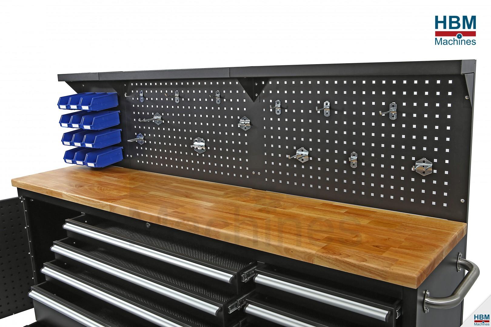 hbm 215 cm gereedschapswagen werkbank met houten werkblad incl achterwand. Black Bedroom Furniture Sets. Home Design Ideas