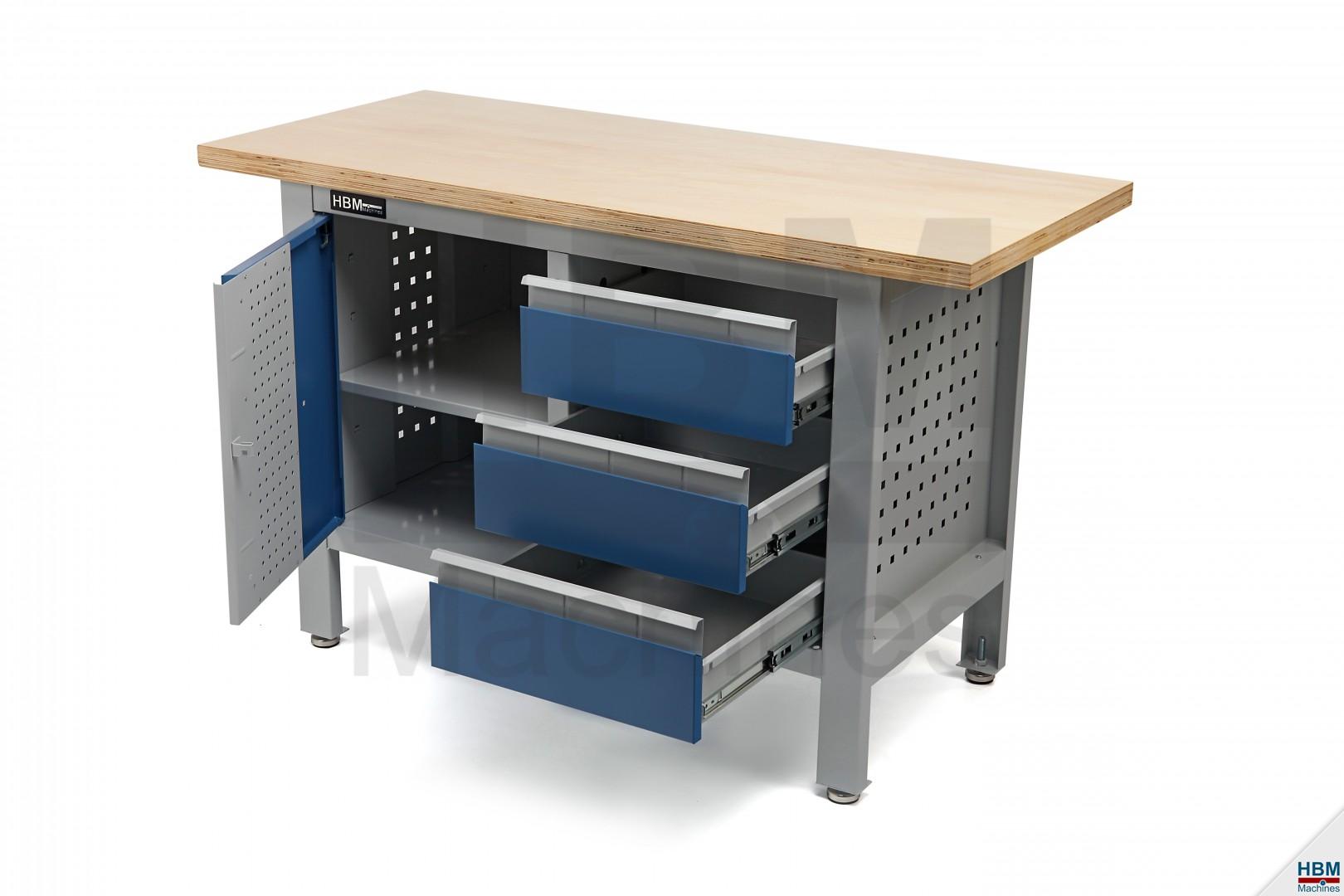 hbm 120 cm werkbank met 3 laden en 1 deur hbm machines. Black Bedroom Furniture Sets. Home Design Ideas